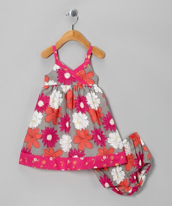 Purple & Gray Floral Surplice Dress & Diaper Cover - Infant