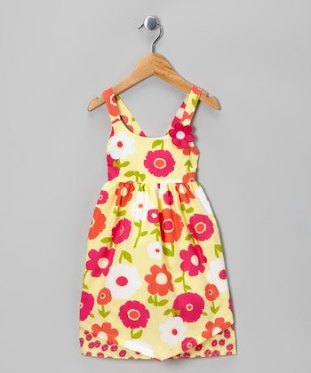 Yellow & Pink Floral Dress - Toddler