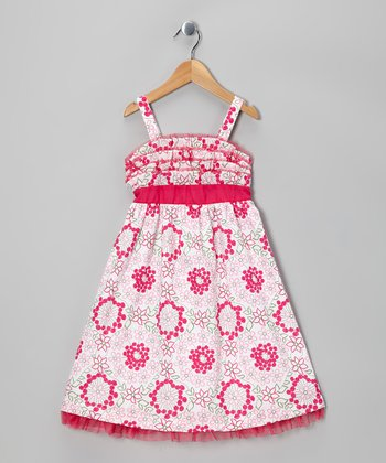 Pink & Yellow Floral Ruffle Dress - Girls