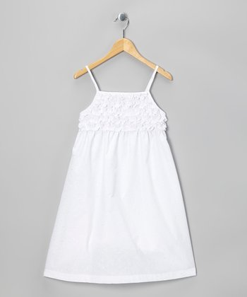 White Ruffle Dress - Girls