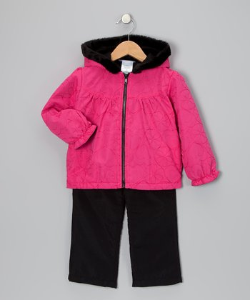 Pink Heart Wind Jacket & Black Pants - Toddler