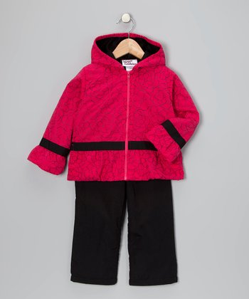 Pink & Black Daisy Wind Jacket & Pants - Toddler & Girls
