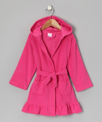Hot Pink Ruffle Fleece Robe - Toddler
