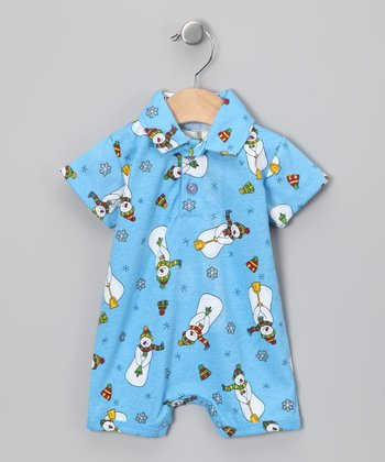 Blue Snowman Polo Romper - Infant