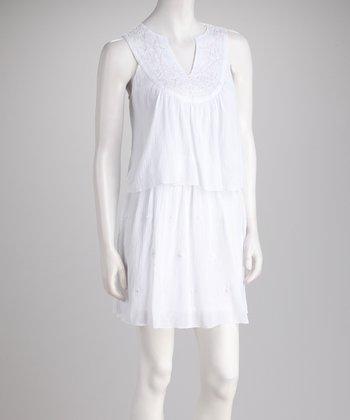 Peppermint Bay White Sequin Ruffle Dress