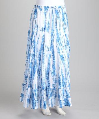 Peppermint Bay Blue & White Tie-Dye Maxi Skirt