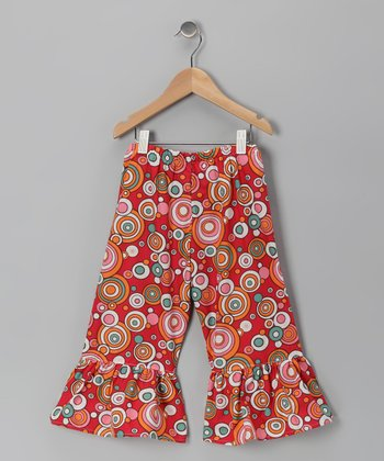 Bright Red Circle Ruffle Pants - Infant, Toddler & Girls