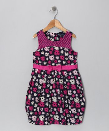 Navy & Fuchsia Bow Dress - Infant, Toddler & Girls