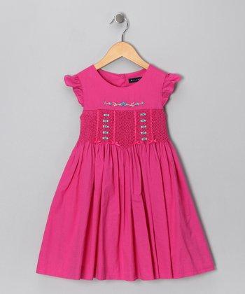Fuchsia Angel-Sleeve Dress - Toddler & Girls