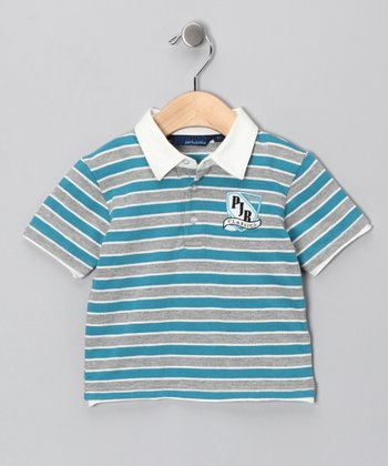 Teal & Gray Stripe Polo - Infant, Toddler & Boys
