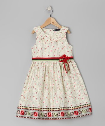Ecru & Red A-Line Dress - Toddler & Girls