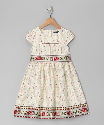 Ecru & Red Cap-Sleeve Dress - Toddler & Girls