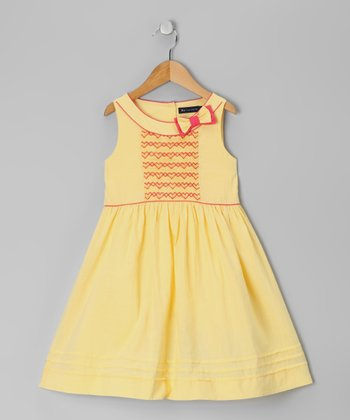 Light Yellow Smocked Dress - Toddler & Girls