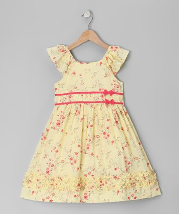 Light Yellow Angel-Sleeve Dress - Toddler & Girls
