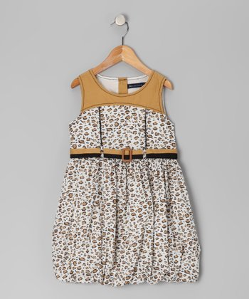Brown Leopard Bubble Dress - Toddler & Girls