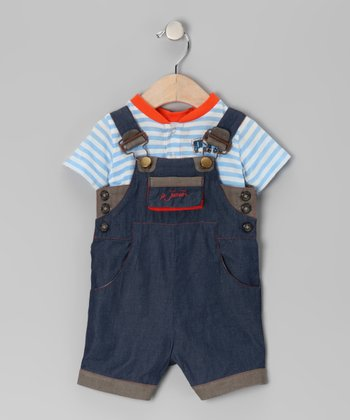 Aqua Stripe Tee & Overalls - Infant