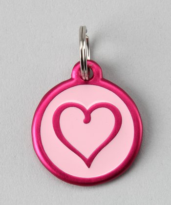 Pink Heart Red Dingo Pet ID Tag