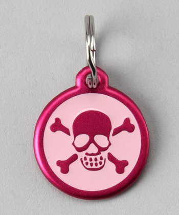 Pink Skull Red Dingo Pet ID Tag