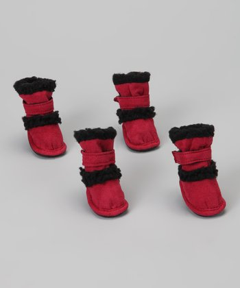 Red Shearling Duggz Shoes