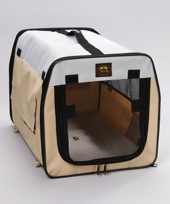 Khaki Folding Pet Crate