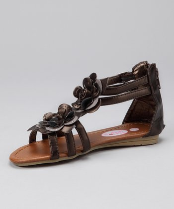 Bronze Sparkle Flower Gladiator Sandal