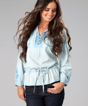 Light Blue Embroidered Drawstring Top