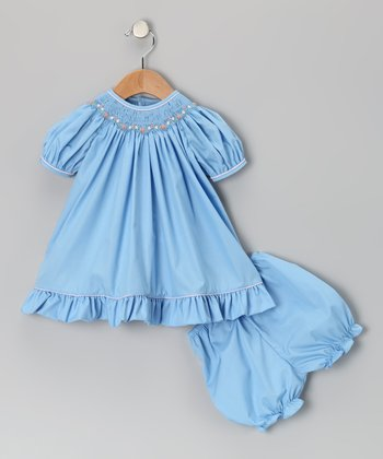 Petit Ami Blue Flower Smocked Bishop Dress & Bloomers - Infant