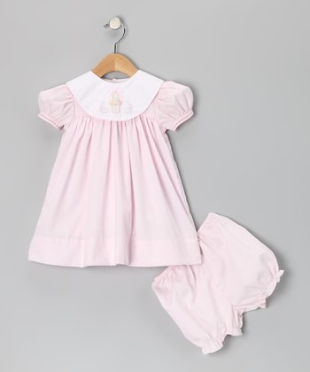 Pink & White Easter Basket Collar Dress & Bloomers - Infant