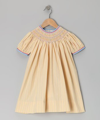 Petit Ami Yellow Stripe Bishop Dress - Infant & Toddler