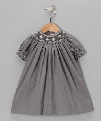 Gray Smocked Bishop Dress & Bloomers - Infant