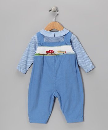 Blue Gingham Top & Boat Overalls - Toddler