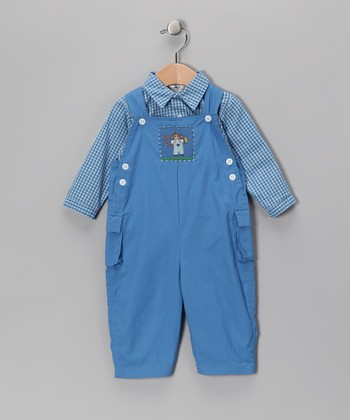 Blue Button-Up & Monkey Overalls - Toddler