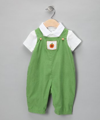 White Polo & Green Pumpkin Corduroy Overalls - Infant