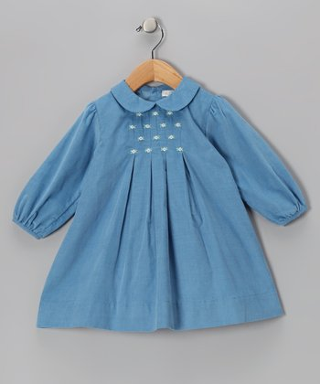 Blue Floral Embroidered Pleated Dress - Infant