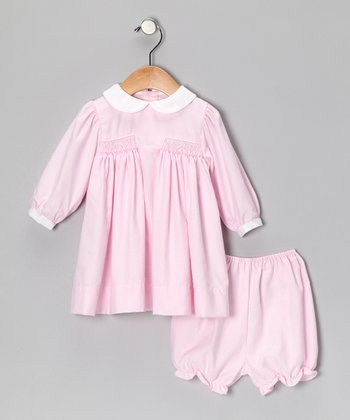 Pink Gingham Smocked Bishop Dress - Infant