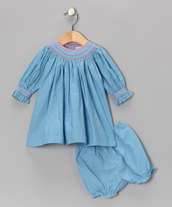 Blue Gingham Smocked Bishop Dress - Infant & Toddler