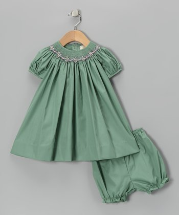 Green Smocked Bishop Dress - Infant & Toddler