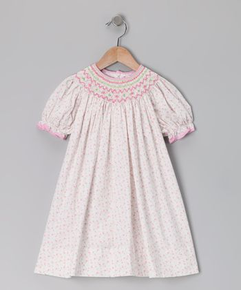 Petit Ami White & Pink Floral Bishop Dress - Toddler & Girls