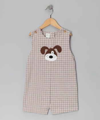 Brown Plaid Doggie Shortalls - Toddler