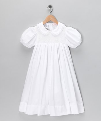 White Smocked Dress - Girls