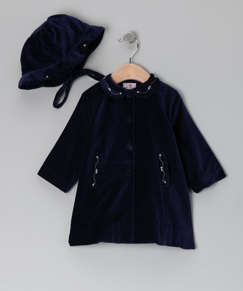 Navy Floral Velvet Coat & Hat - Infant