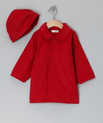 Red Corduroy Coat & Hat - Toddler