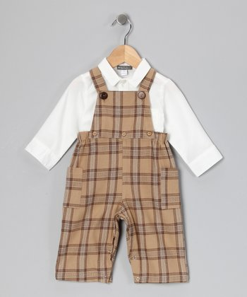 White Button-Up & Beige Plaid Overalls - Infant