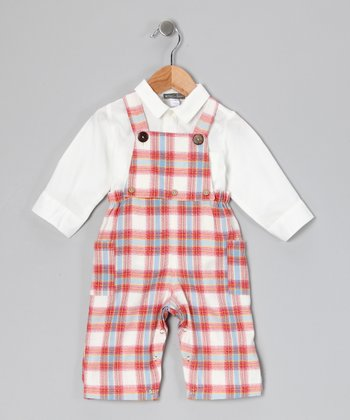White Button-Up & Red Plaid Overalls - Infant