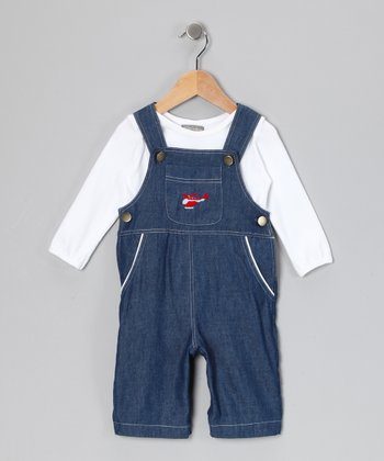 White Bodysuit & Denim Helicopter Overalls - Infant