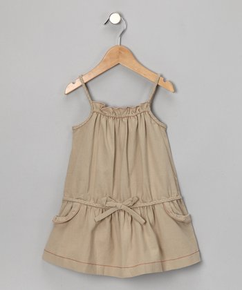Beige Drop-Waist Dress - Girls