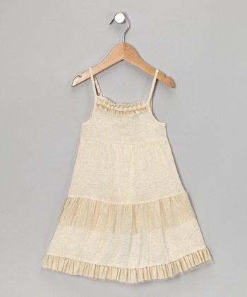 Beige Gold Tulle Dress - Girls