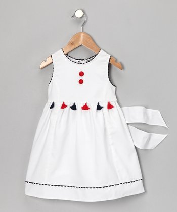 White Patriotic Tassel Dress - Girls