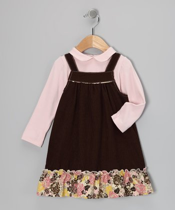Pink Top & Brown Corduroy Jumper - Infant