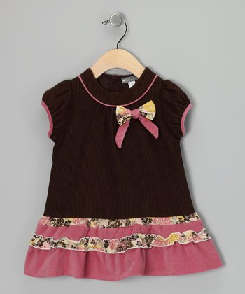 Brown Bow Corduroy Drop-Waist Dress - Infant & Toddler